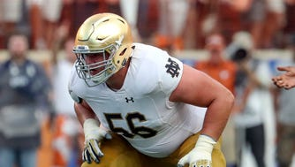 Notre Dame Fighting Irish offensive lineman Quenton Nelson (56) during the game against the Texas Longhorns at Darrell K Royal-Texas Memorial Stadium.