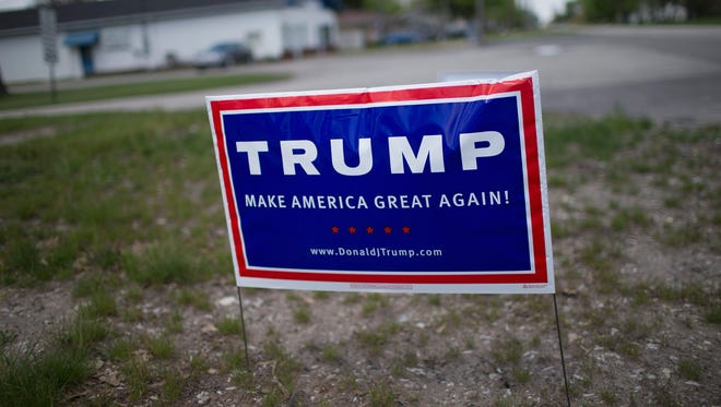 A campaign sign displaying support for Republican presidential candidate Donald Trump. This is not the sign an Iowa City woman is accused of tearing up.