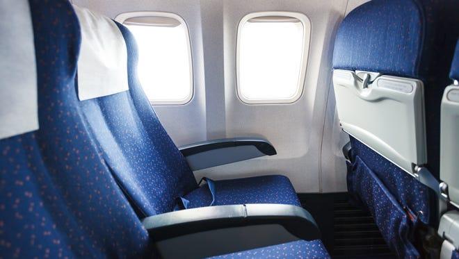 Photos of airplane seats.