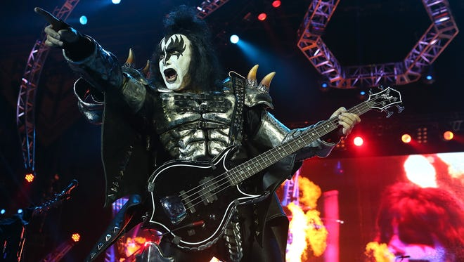 Gene Simmons of KISS performs during the band's opening show for the Australian leg of its 40th anniversary world tour at Perth Arena on Oct. 3, 2015, in Perth, Australia.