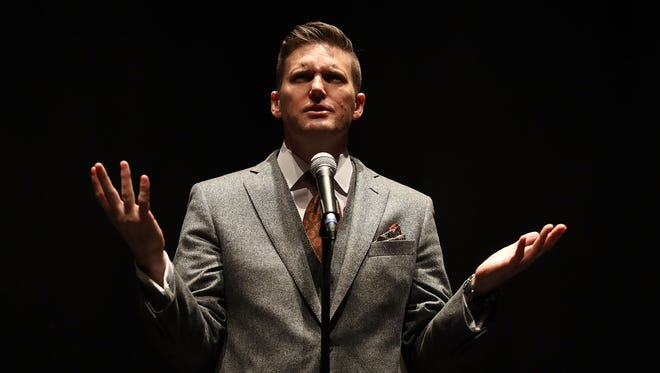 "White nationalist Richard Spencer, who popularized the term ""alt-right"" speaks during a press conference at the Curtis M. Phillips Center for the Performing Arts on Oct. 19, 2017 in Gainesville, Fla."