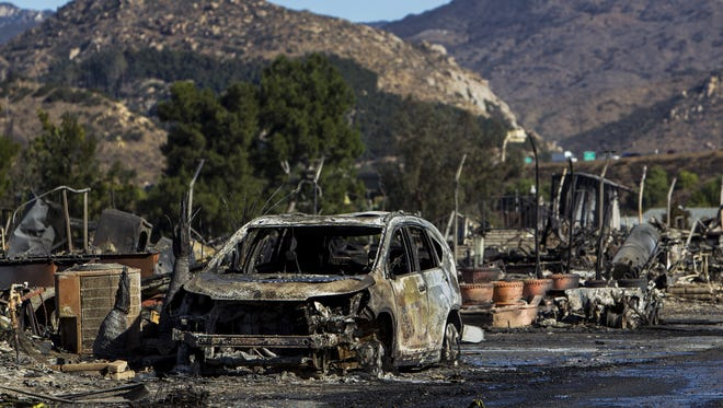 A street destroyed by the Lilac Fire in Rancho Monserate Country Club is pictured on Dec. 8, 2017, in Fallbrook, California.