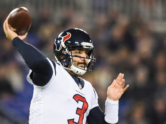 Houston Texans quarterback Tom Savage (3) passes the ball during the first half of an NFL football game against the Baltimore Ravens in Baltimore, Monday, Nov. 27, 2017. (AP Photo/Gail Burton)