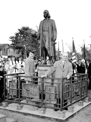 The unveiling of the Christopher Columbus statue in Newport took place on October 12, 1953, after a weekend-long celebration that included a parade.