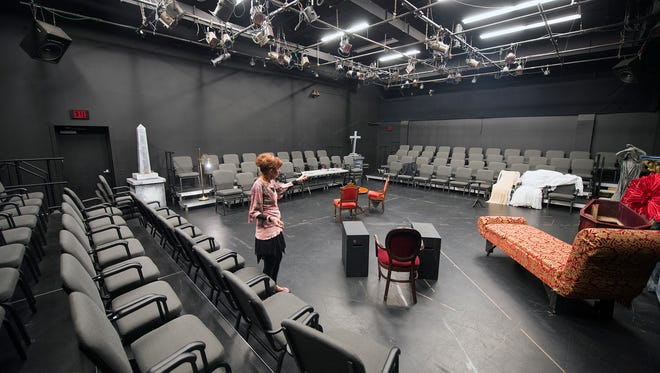 Lyn Bergdoll, executive Director, at York Little Theatre inside the BonTon Studio Monday September 14, 2015. new lighting, new curtain and a suspended floor. Paul Kuehnel - York Daily Record/ Sunday News