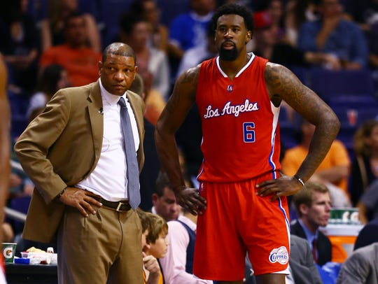 Los Angeles Clippers center DeAndre Jordan (6) talks