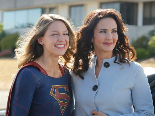 Melissa Benoist and Lynda Carter on the set of 'Supergirl.'