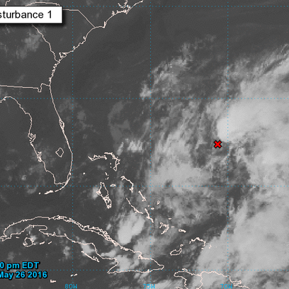 A satellite view of the low pressure area in the Atlantic