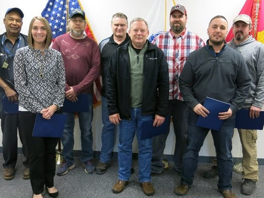 The U.S. Air Force recognize employees at Letterkenny Munitions Center LEMC employees are recognized by for their support of JASSM and MALD/MALD-J programs.  Pictured left to right: Herb Bailey, Jennifer Weller, Ray Mellott, William MacMillen, Jay Carbaugh, Brent Brooks, Brandon Yates and Greg Hershey (Not pictured: Travis Moore)