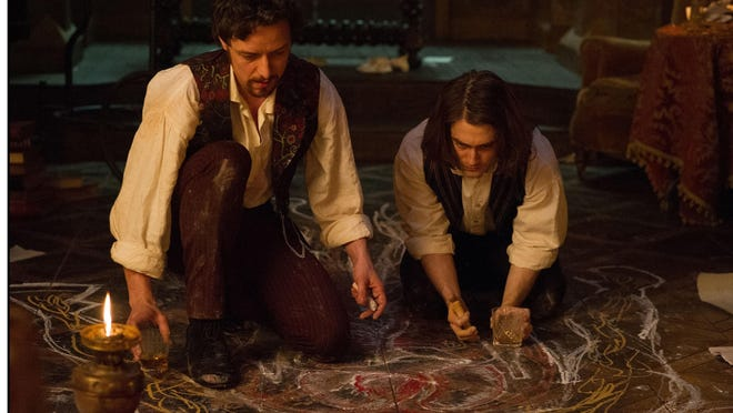 """James McAvoy and Daniel Radcliffe star as Victor Frankenstein and his friend and assistant Igor, in """"Victor Frankenstein."""""""