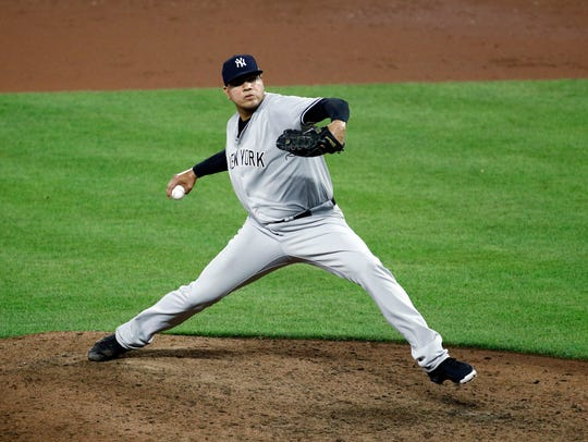 New York Yankees relief pitcher Dellin Betances throws