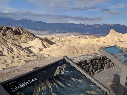 Zabriskie Point is a highlight of a visit to the often-overlooked Death Valley National Park. A delightful trail starting near this scenic overlook winds its way through the appropriately named Golden Canyon.