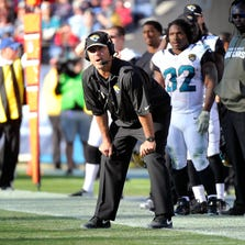 NASHVILLE, TN - NOVEMBER 10:  Head coach Gus Bradley of the Jacksonville Jaguars coaches his team against the Tennessee Titans at LP Field on November 10, 2013 in Nashville, Tennessee.  (Photo by Frederick Breedon/Getty Images)