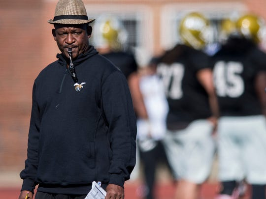 Alabama State University head football coach Donald Hill-Eley during spring practice on the ASU campus in Montgomery, Ala. on Wednesday April 4, 2018.