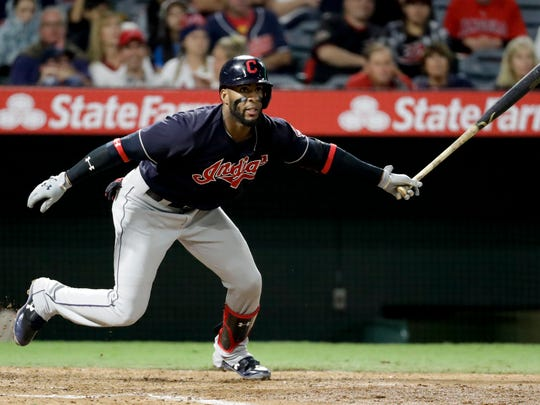 Cleveland Indians' Yandy Diaz watches his RBI-single against the Los Angeles Angels during the sixth inning of a baseball game in Anaheim, Calif., Tuesday, Sept. 19, 2017. (AP Photo/Chris Carlson)
