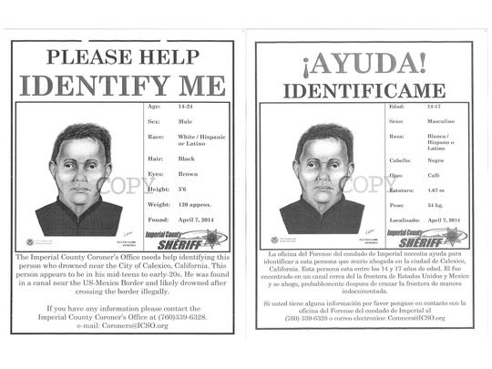 These posters were posted online in an effort to identify a body that was found in the All American Canal in 2014. The man was eventually identified as  Edgar Antonio Gomez Fernandez, 20, of Mexico.