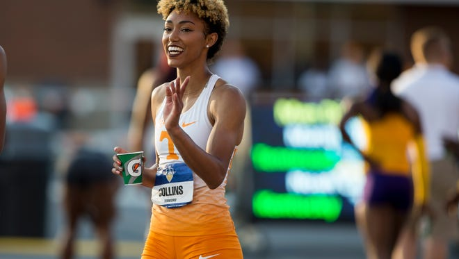 Shania Collins of Tennessee after finishing a preliminary heat in the 200 meters during the SEC Outdoor Track and Field Championships at Tom Black Track in Knoxville on May 13, 2018.