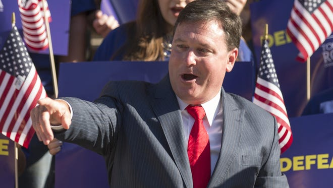 U.S. Rep. Todd Rokita announces his U.S. Senate candidacy on the south steps of the Indiana Statehouse, on Wednesday.