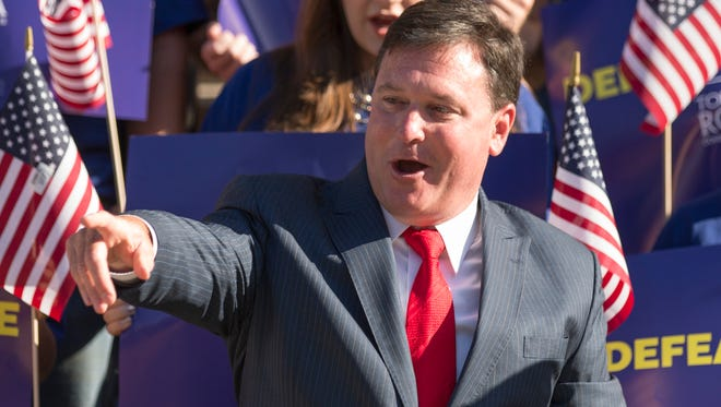 Rep. Todd Rokita announces his U.S. Senate candidacy on the south steps of the Indiana Statehouse in Indianapolis on Aug. 9, 2017.