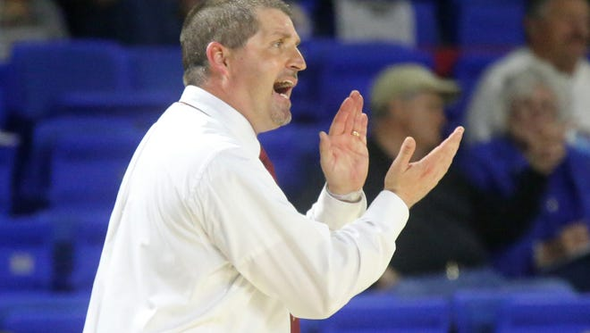 Riverdale Coach Randy Coffman on the sideline during the Class AAA semifinal against Memphis Central on March 11, 2016, at MTSU.