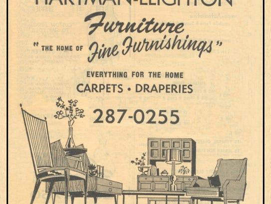 Advertisement for Hartman-Leighton Furniture in 1967.
