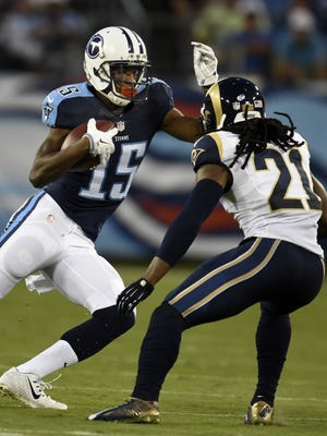 Titans wide receiver Justin Hunter makes a play during a preseason game against the Rams.