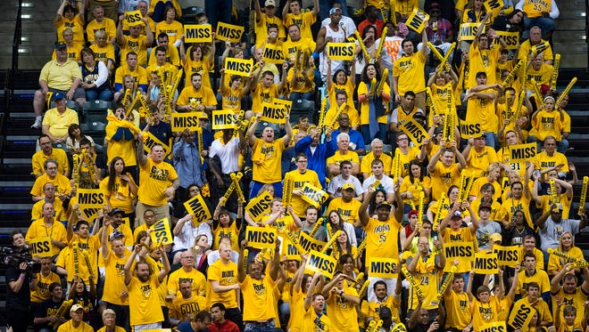 Pacers fans cheer on the home team during the NBA playoffs in May last season.
