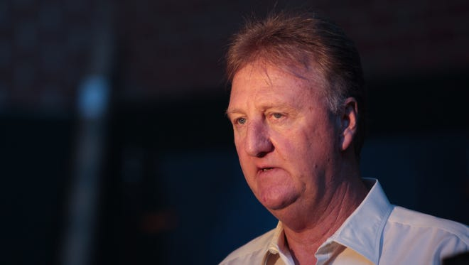 Larry Bird is interviewed during Pacers Media Day at Bankers Life Fieldhouse, Sept. 27, 2013.