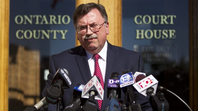Ontario County District Attorney Michael Tantillo at a news conference Wednesday.