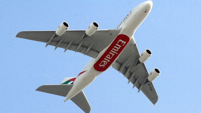 The first of Emirates Airlines' 58 Airbus A380 superjumbo planes arrives at Dubai International Airport on July 29, 2008.