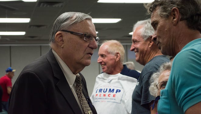 Maricopa County Sheriff Joe Arpaio talks to attendees of a meeting of the Surprise Tea Party in Surprise, Arizona, on Sept. 20, 2016.