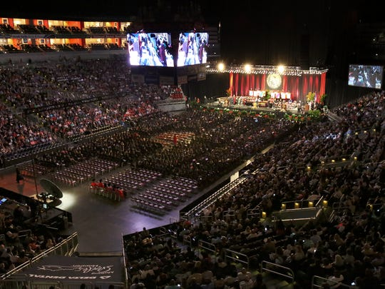 The University of Louisville commencement ceremony at the KFC Yum Center.   May 13, 2017