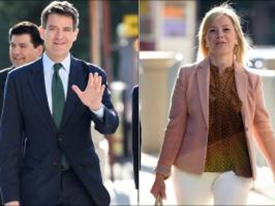 Bill Baroni and Bridget Anne Kelly outside of Newark federal court on Monday, Sept. 26, 2016.