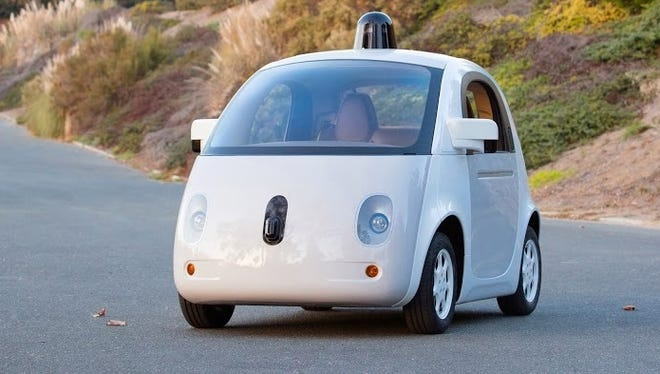 The latest version of Google's self-driving car has a sensors, radar and other systems on the roof and front.