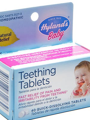 "This image provided by the U.S. Food & Drug Administration shows Hyland's Baby Teething Tablets. Late Thursday, April 13, 2017, the FDA said that two versions of Hyland's teething tablets are being recalled nationwide due to inconsistent levels of toxic belladonna, which makes them ""a serious health hazard"" to young children. The recall covers all Hyland's Baby Teething Tablets and Hyland's Baby Nighttime Teething Tablets, products meant to relieve discomfort from emerging teeth."