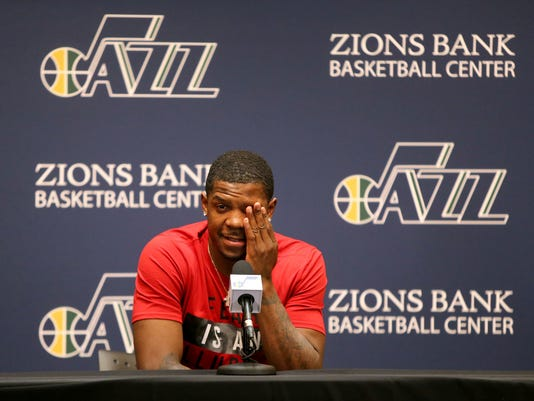 Utah Jazz forward Joe Johnson talks to the media during the NBA teams end of season press conference at the Zions Bank Basketball Center in Salt Lake City on Tuesday, May 9, 2017. (Kristin Murphy/The Deseret News via AP)
