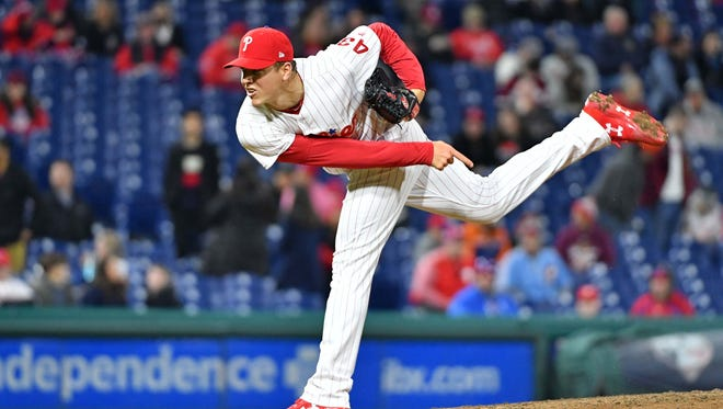 Apr 11, 2018; Philadelphia, PA, USA; Philadelphia Phillies starting pitcher Nick Pivetta (43) throws a pitch during the sixth inning against the Cincinnati Reds at Citizens Bank Park. Mandatory Credit: Eric Hartline-USA TODAY Sports