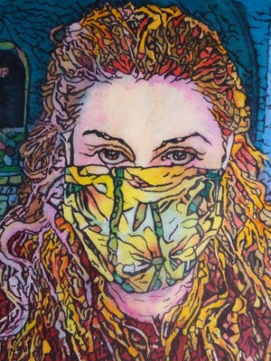"""""""Self Portrait In The Time Of The Coronavirus,"""" watercolor batik painting by Annette McGuire."""
