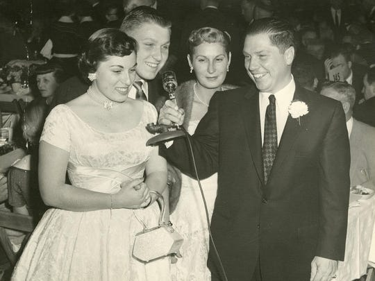 """James R. """"Jimmy"""" Hoffa, right, with (from left) daughter Barbara, son Jim and wife Josephine at an event in 1956."""