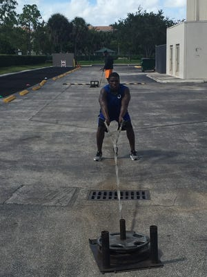 Indianapolis Colts running back Frank Gore works out in Miami.
