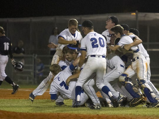 Canterbury celebrates its win over Clearwater's Calvary Christian in the Region 3A-3 baseball final in May. Canterbury won 4-3.