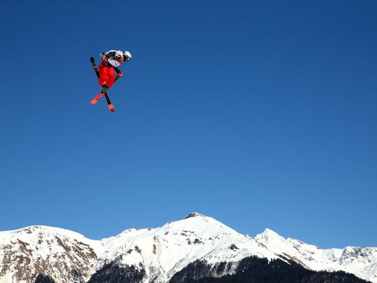 Nick Goepper of the United States competes in the Freestyle Skiing Men's Ski Slopestyle Finals during day six of the Sochi 2014 Winter Olympics at Rosa Khutor Extreme Park on February 13, 2014 in Sochi, Russia.