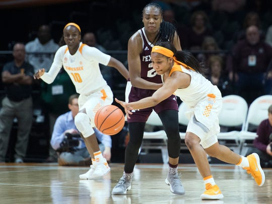 Tennessee's Rennia Davis tries to steal the ball from
