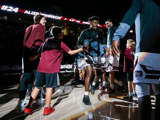 Alize Johnson is introduced in the Bears home opener at JQH Arena on Wednesday, Nov. 15, 2017.