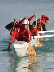 In this May 13, 2017, file photo, the St. John's Knights compete during the Independent Interscholastic Association of Guam and the Guam Kayak and Canoe Federation Paddling Series 1000-meter finals at Matapang Beach.