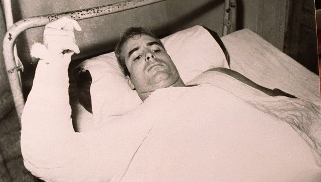 John McCain, shortly after his plane was shot down and he was captured by the North Vietnamese