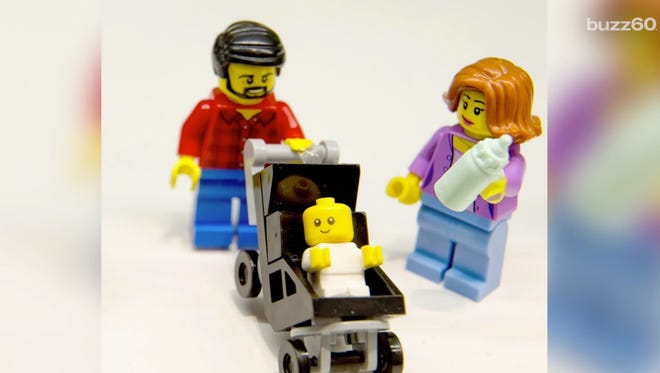 Lego's new stay-at-home-dad minifigure, complete with a much more professionally dressed mom.