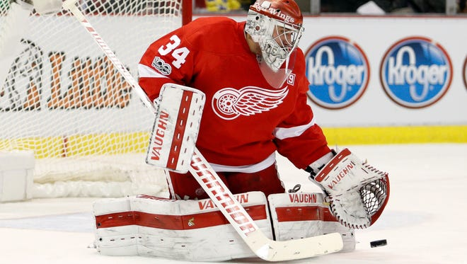 Detroit Red Wings goalie Petr Mrazek makes a save against the Toronto Maple Leafs at Joe Louis Arena on Jan. 25, 2017.