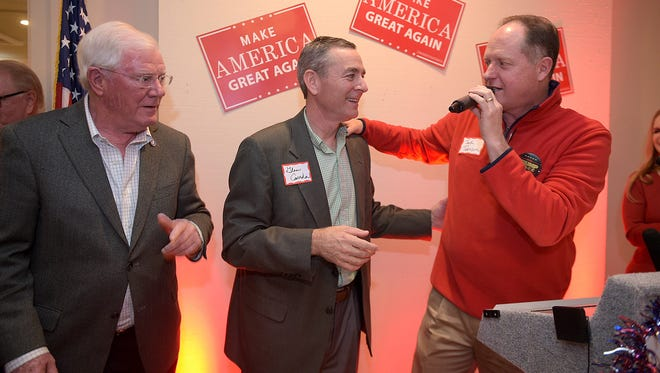 Senator Jack Johnson, right, introduces Rep. Glen Casada, middle, and Rep. Charles Sargent at Williamson County Republican watch party on election night at Old Natchez Country Club in Franklin, Tenn. on  Tuesday, Nov. 8, 2016.