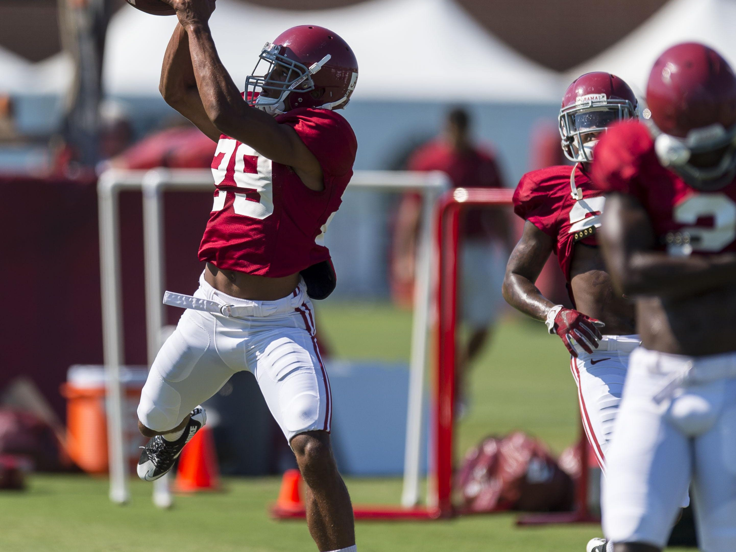 Alabama defensive back Minkah Fitzpatrick (29) works through drills during practice Thursday at the Thomas-Drew Practice Fields in Tuscaloosa.